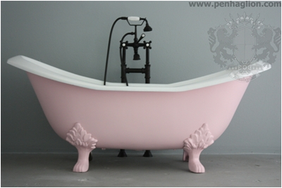 "Baby Bath Tub with Feet the Rufford 73"" Vintage Designer soft Pink Cast Iron"