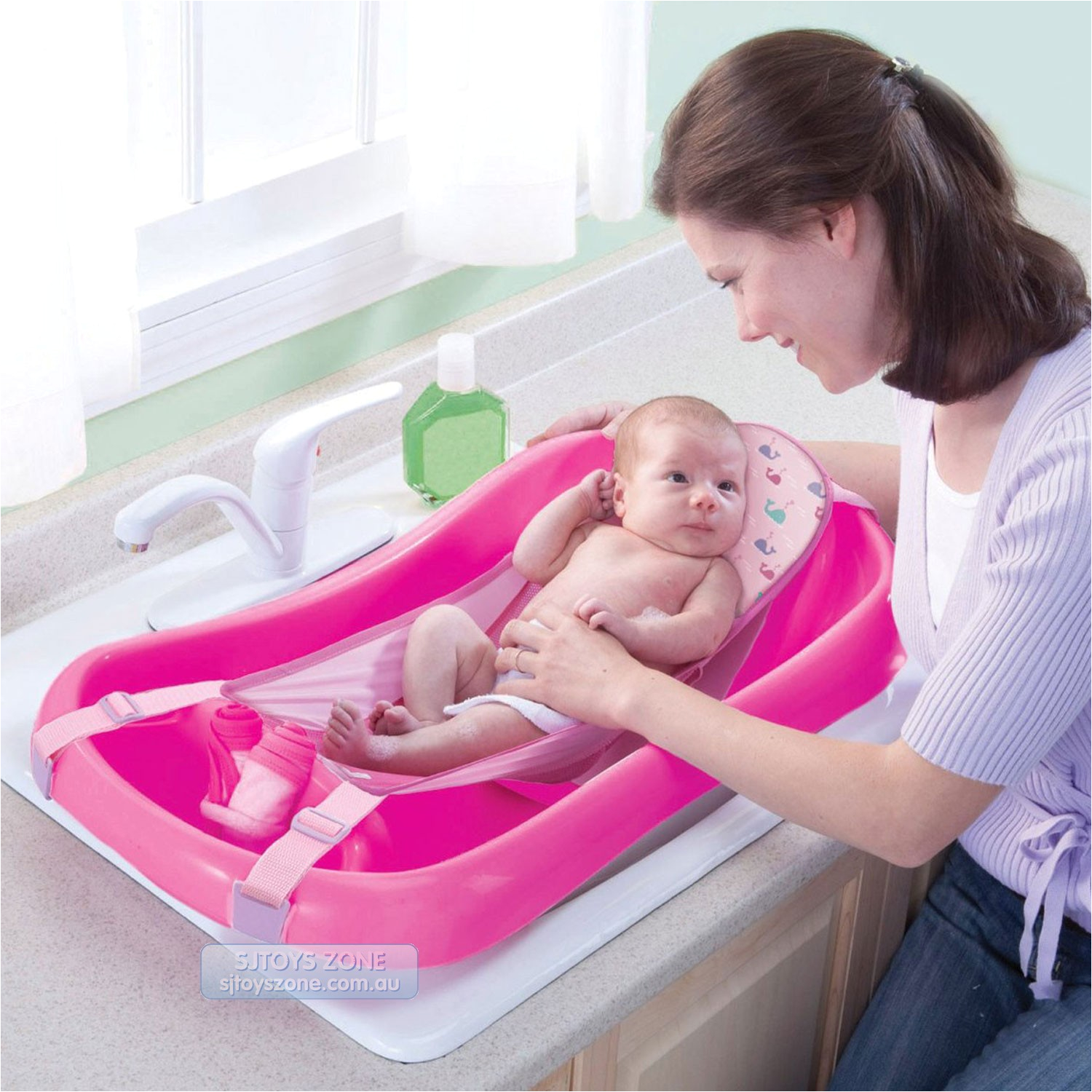 the first years infant to toddler pink bath tub with sling