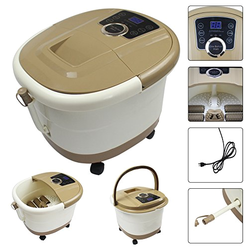 yosager foot spa bath massager with heat rolling massage digital temperature control led display portable
