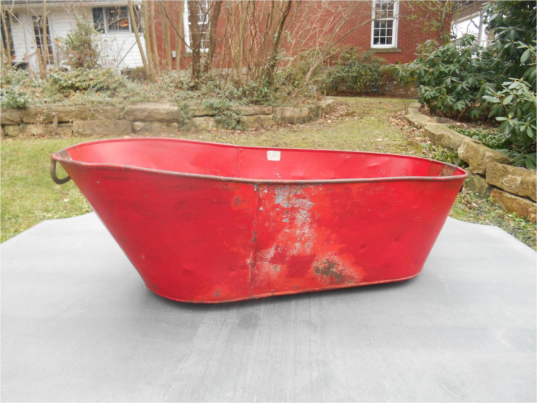 antique tin baby bathtub bath tub metal