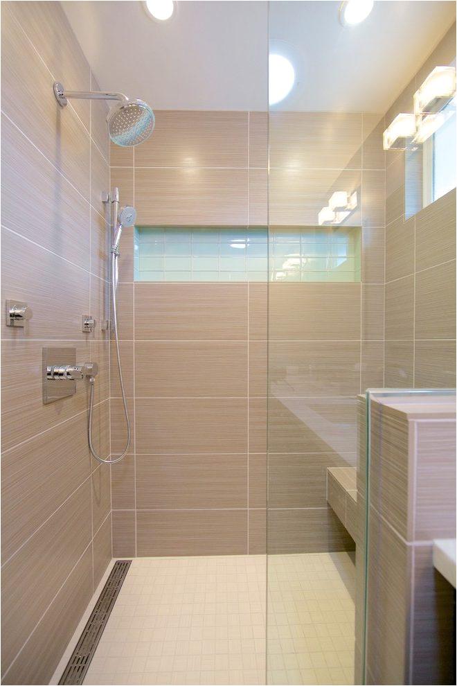 dishy horizontal niche with rain showerhead head