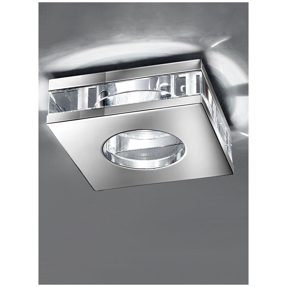franklite crystal and chrome square bathroom downlight rf267 p