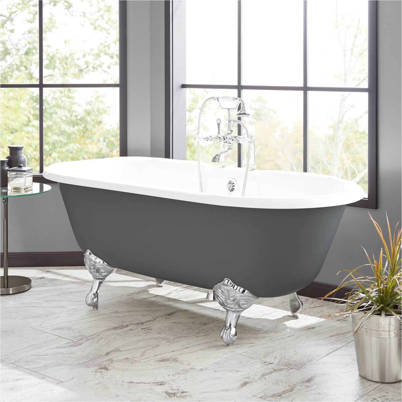 66 sanford cast iron clawfoot tub imperial feet dark gray