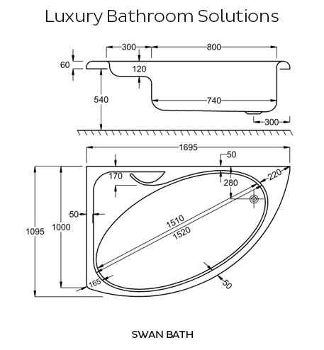 swan offset luxury carron 1700 acrylic corner bath