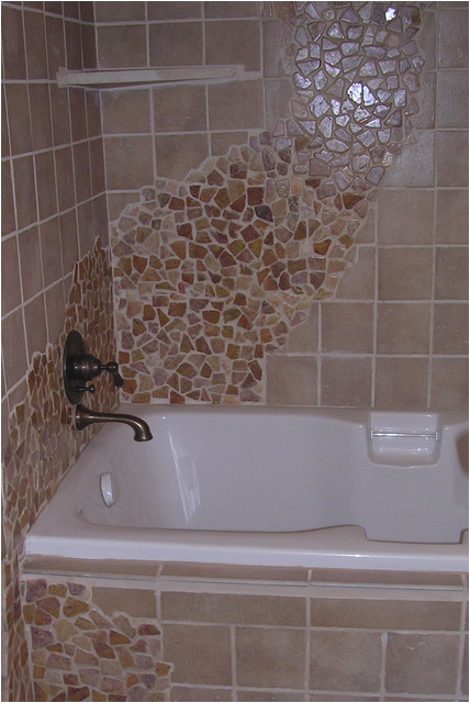 Brown Flat Rock Bath Tub Wall Tile modern bathroom