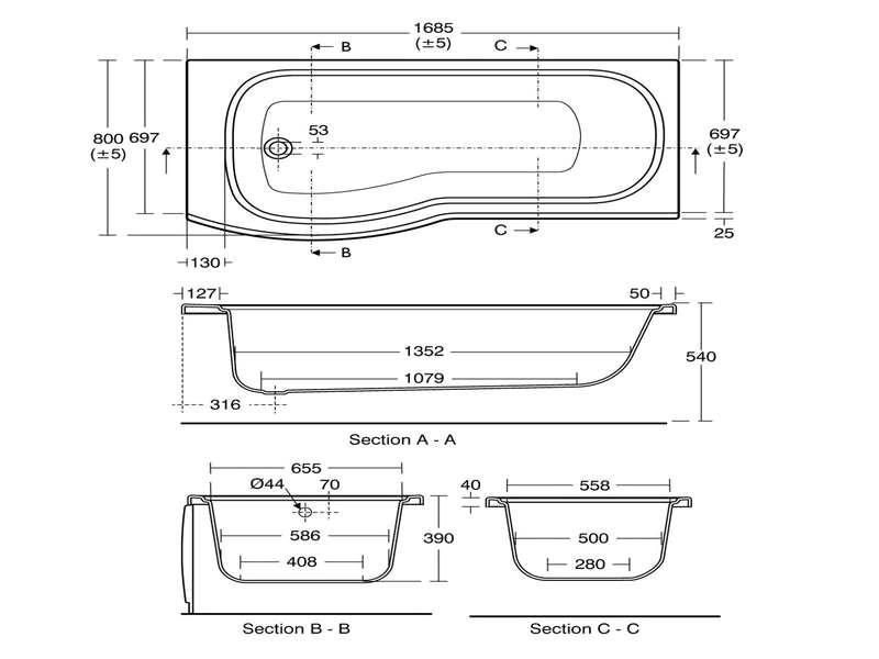 standard bathtub size alto