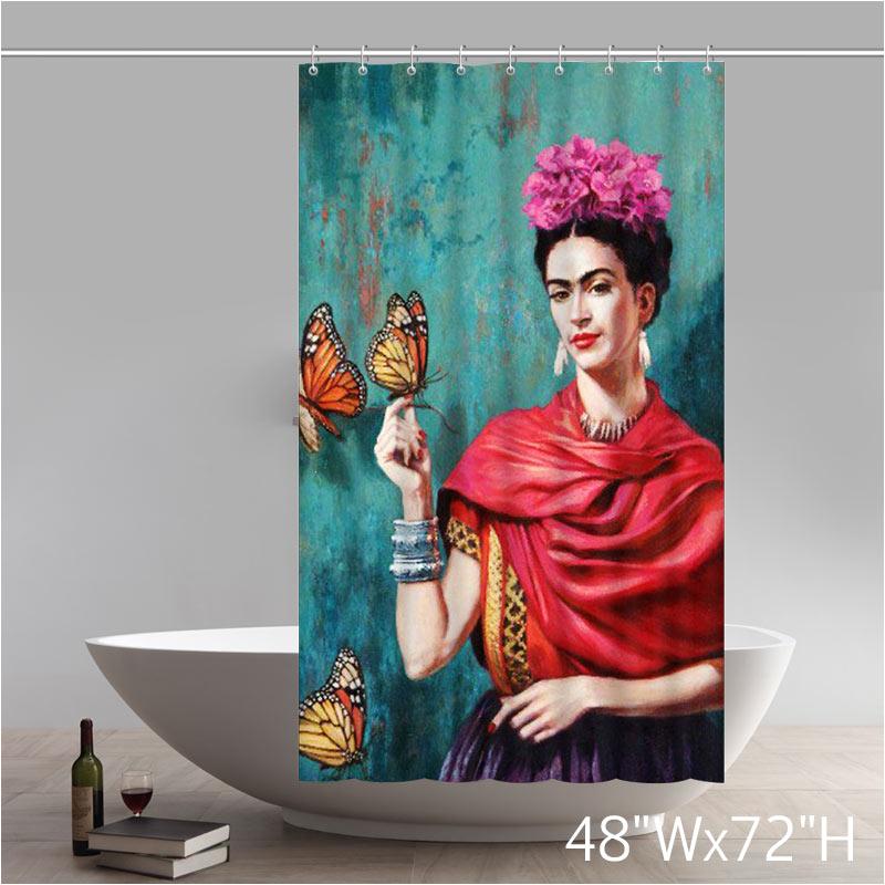 liberty art frida kahlo design of waterproof fabric bathroom shower curtain