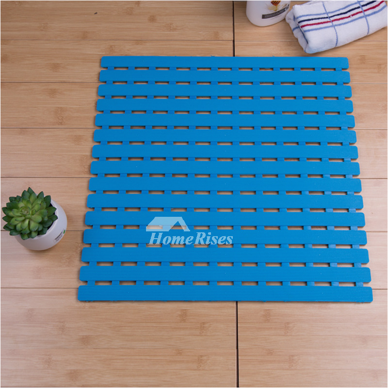 blue bath mat square plastic suction cup non slip print bathroom p hois 4352