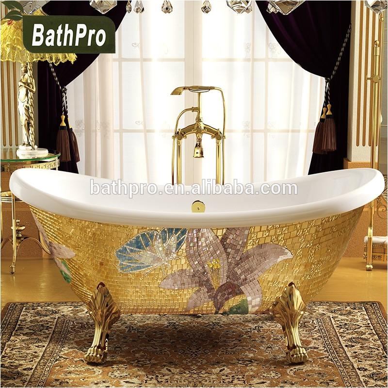 acrylic gold freestanding deep portable bathtub for sale with four legs