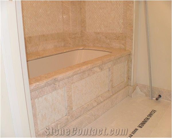 breccia oniciata marble bath tub deck