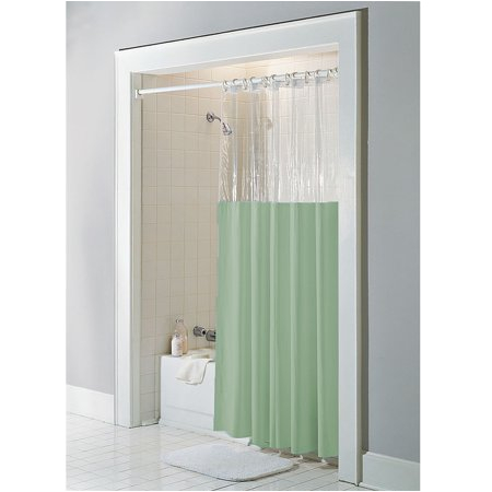 Bathtub Vinyl Liner Sage Vinyl Windowed Shower Curtain Liner Clear top