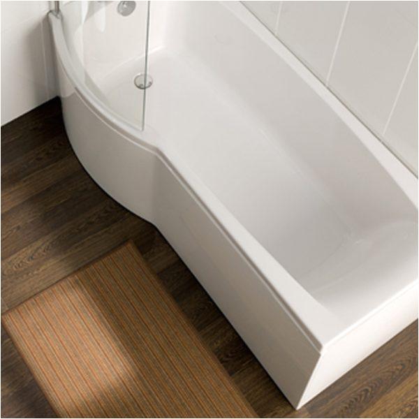 carron delta 1600mm space saving p shaped shower bath
