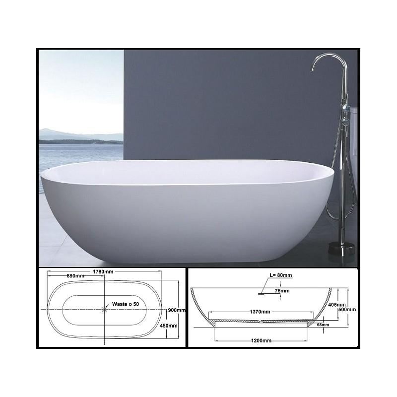 663 oval bath tub stone 1800