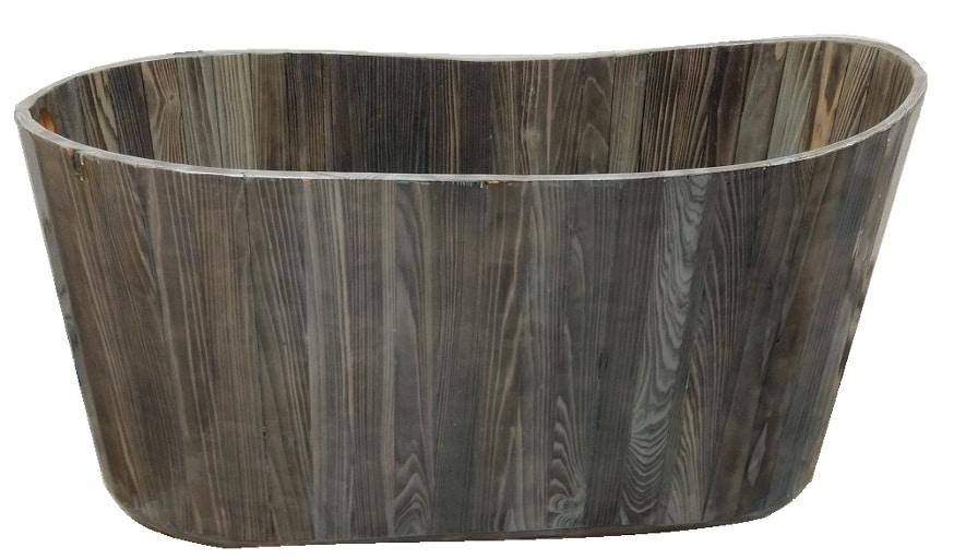 freestanding wood bathtub aged cypress 58 length