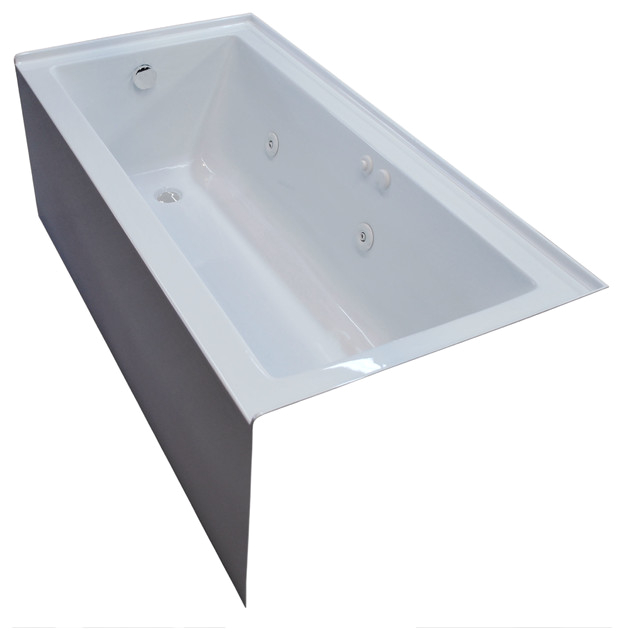 Pontormo 30 x 60 Front Skirted Whirlpool Drop In Bathtub with Left Drain contemporary bathtubs