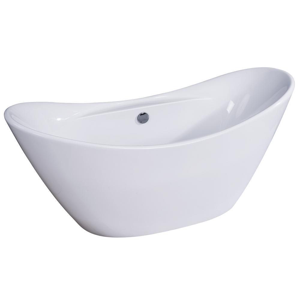 Bathtubs Brands Alfi Brand 68 In Acrylic Flatbottom Bathtub In White