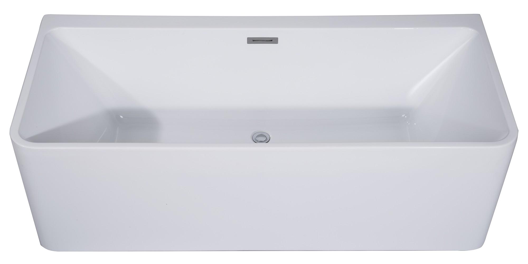 alfi brand ab8858 59 inch white rectangular acrylic free standing soaking bathtub