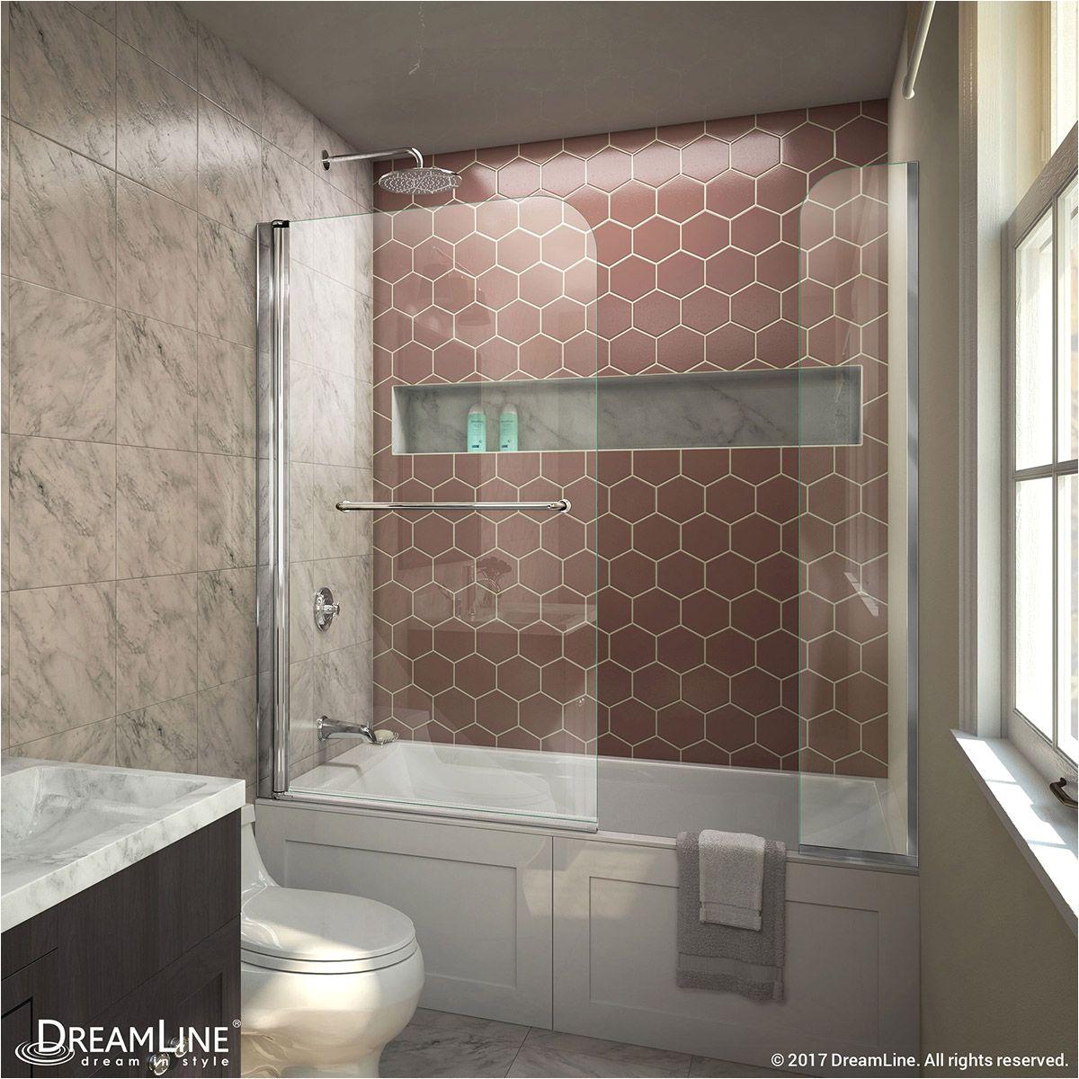 aqua swing 56 60 w x 58 h frameless tub door with extender panel
