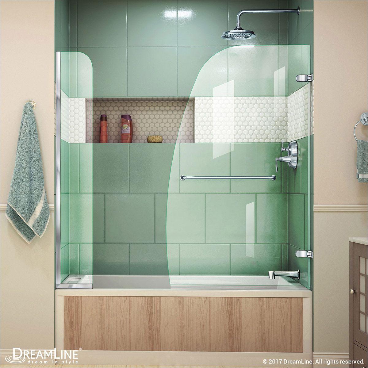 aqua uno 56 60 w x 58 h frameless hinged tub door with extender panel