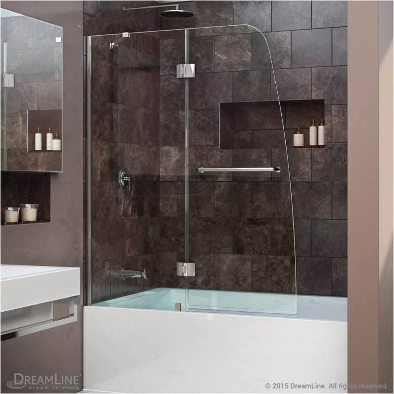 dreamline aqua 48 frameless hinged tub door clear 1 4 glass door chrome finish