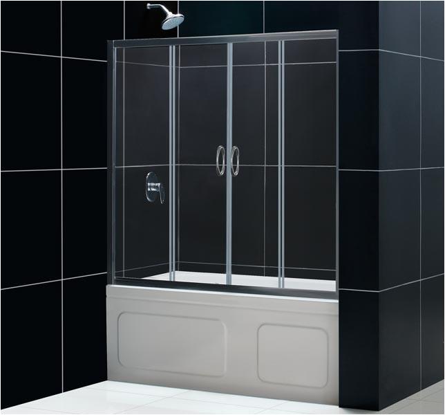 dreamline visions 56 60 center opening sliding tub door shdr