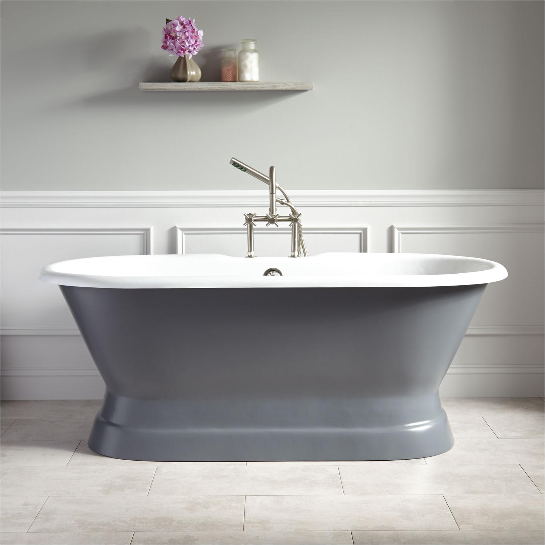 66 henley cast iron double ended pedestal tub tap deck 7 rim holes dark gray