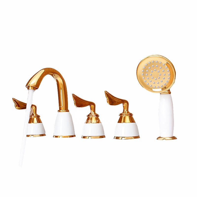 3 handle bathtub faucet polished brass sidespray luxury good quality solid p hois2167 1335