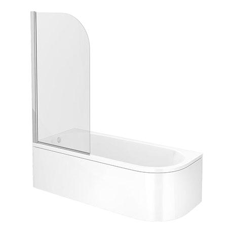 Bathtubs soaking J J Shaped Shower Bath 1700mm with Screen Curved Panel