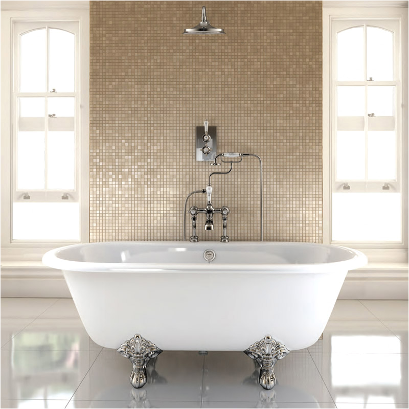 Burlington Windsor 1700mm Double Ended Bath with Chrome Traditional Legs E3E11CHR