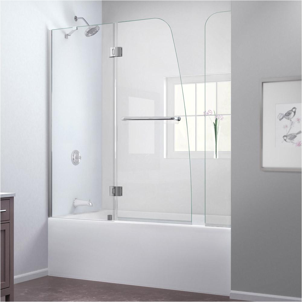 bath authority dreamline aqua frameless hinged tub door 56 60 with extender panel shdr ex