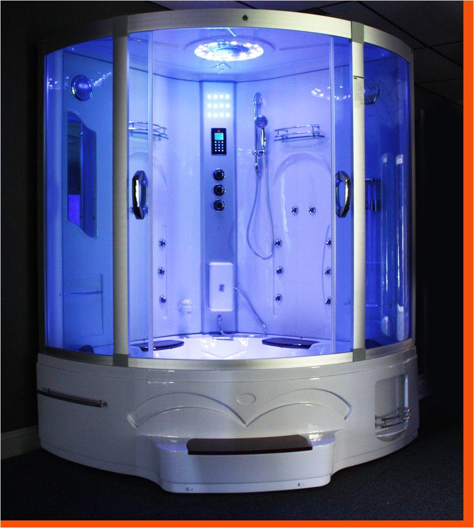 Big Bathtubs with Jets Big Corner Whirlpool Tub Steam Shower Room 9011 Image 1
