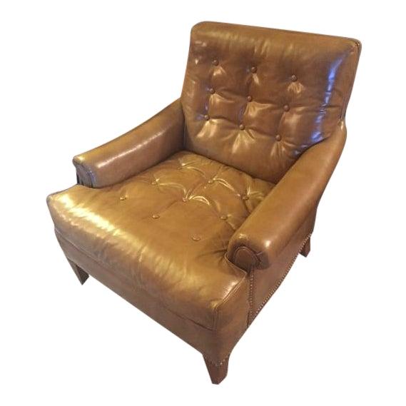 vintage mid century heritage tufted caramel leather club chair