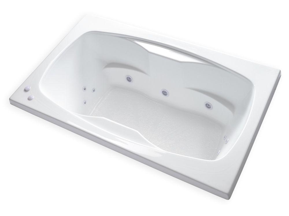 "Center Drain Alcove Bathtub Carver Tubs Ar6042 60"" X 42"" Drop In Center Drain White 12"