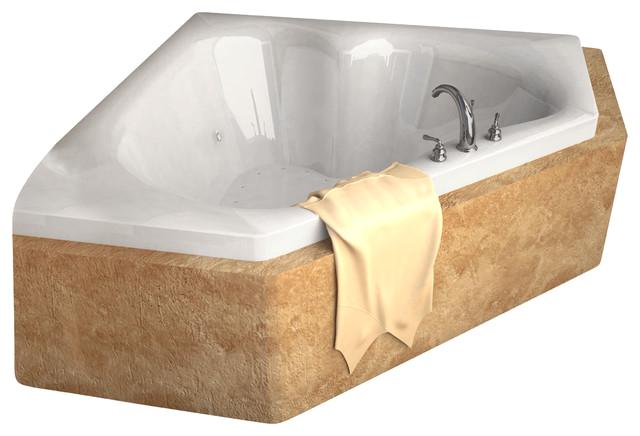 Venzi Tovila 60x60 Corner Bathtub with Center Drain contemporary bathtubs