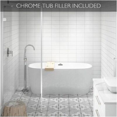 Center Drain Bathtub Lowes Jacuzzi Primo 59 In White Acrylic Freestanding Bathtub