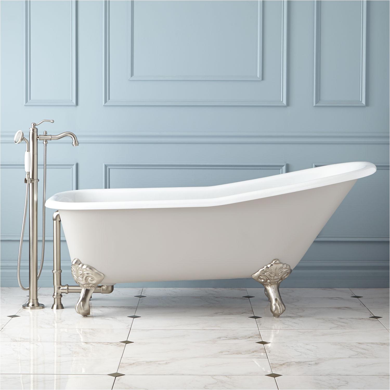 "Center Drain Bathtub Menards 66"" Goodwin Cast Iron Clawfoot Tub Imperial Feet Light"