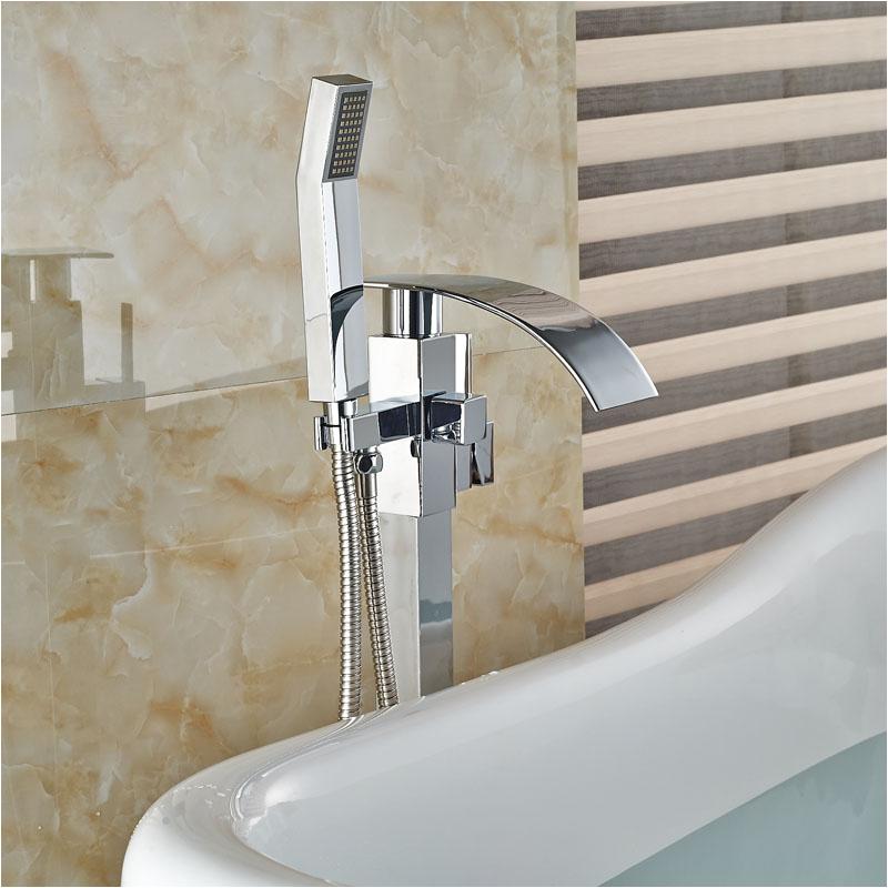 Cheap Freestanding Bathtub Faucets Waterfall Spout Bathtub Faucet Chrome Polished Floor
