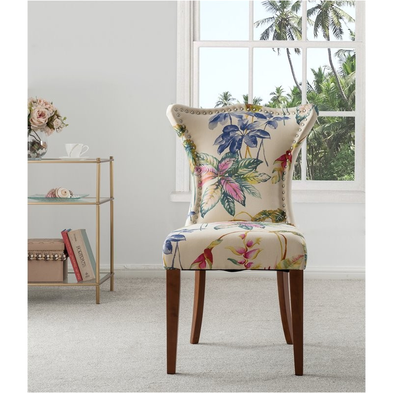 brika home upholstered accent chair in off white floral