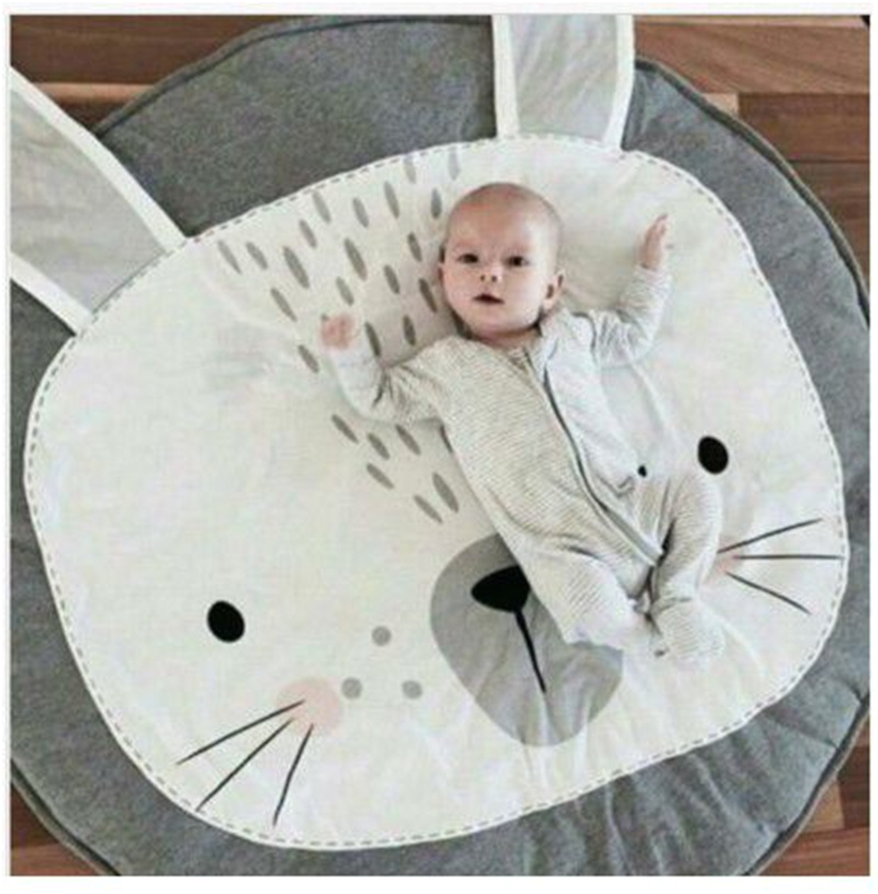 gray cartoon rabbit baby cotton playmat kids toy room decor floor mat 95cm p