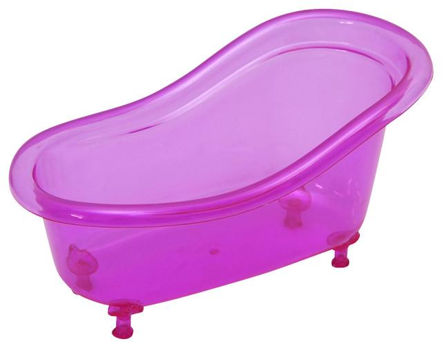 Claw Foot Bathtub Basket Counter Top Organizer Acrylic Clear Purple contemporary bathroom accessories