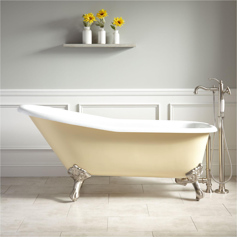 66 goodwin cast iron clawfoot tub imperial feet light yellow