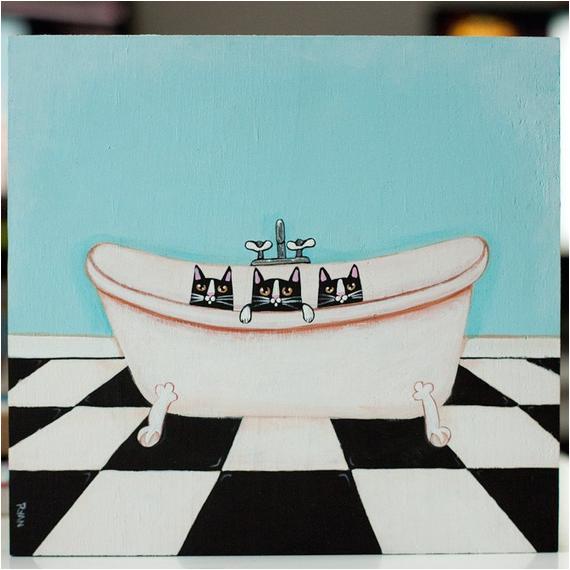Clawfoot Bathtub Art the Clawfoot Tub original Cat Folk Art Painting by