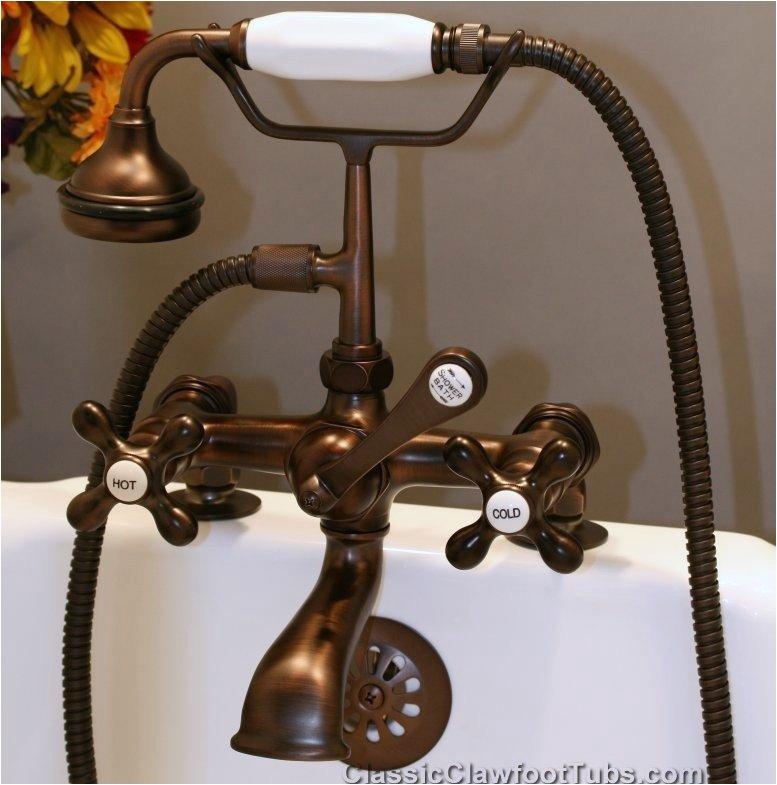 clawfoot tub deckmount british telephone faucet w hand held shower sh463