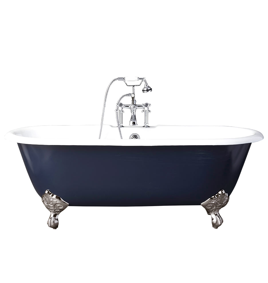 5 1 2 double ended clawfoot tub with navy exterior pn