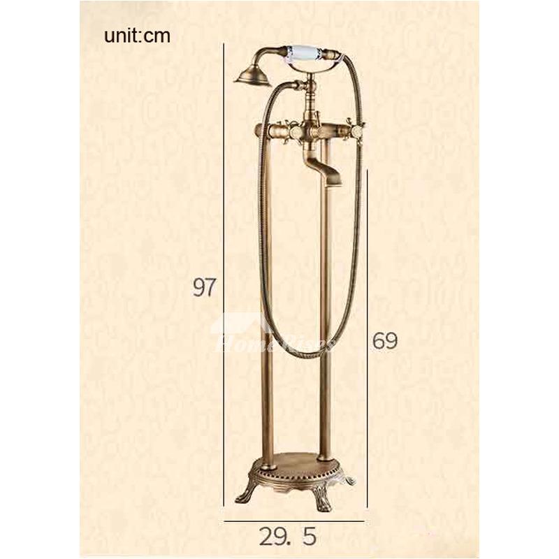 antique brass floor standing clawfoot bathtub faucet blackgold p hois 6573