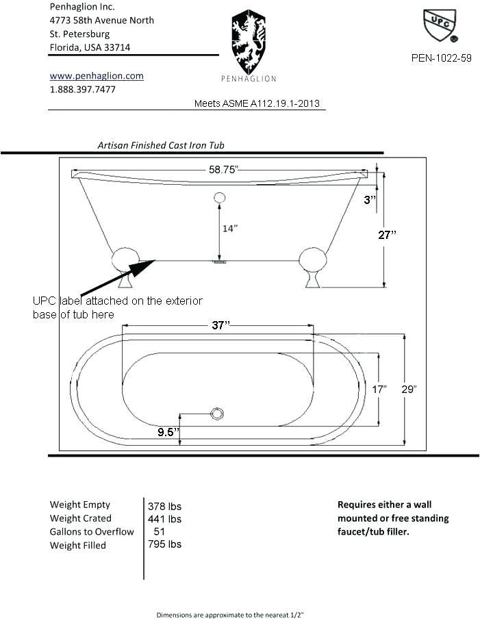 Clawfoot Bathtub Length Clawfoot Tub Dimensions – Infamousnow