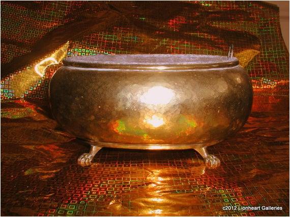 vintage hammered brass planter clawfoot