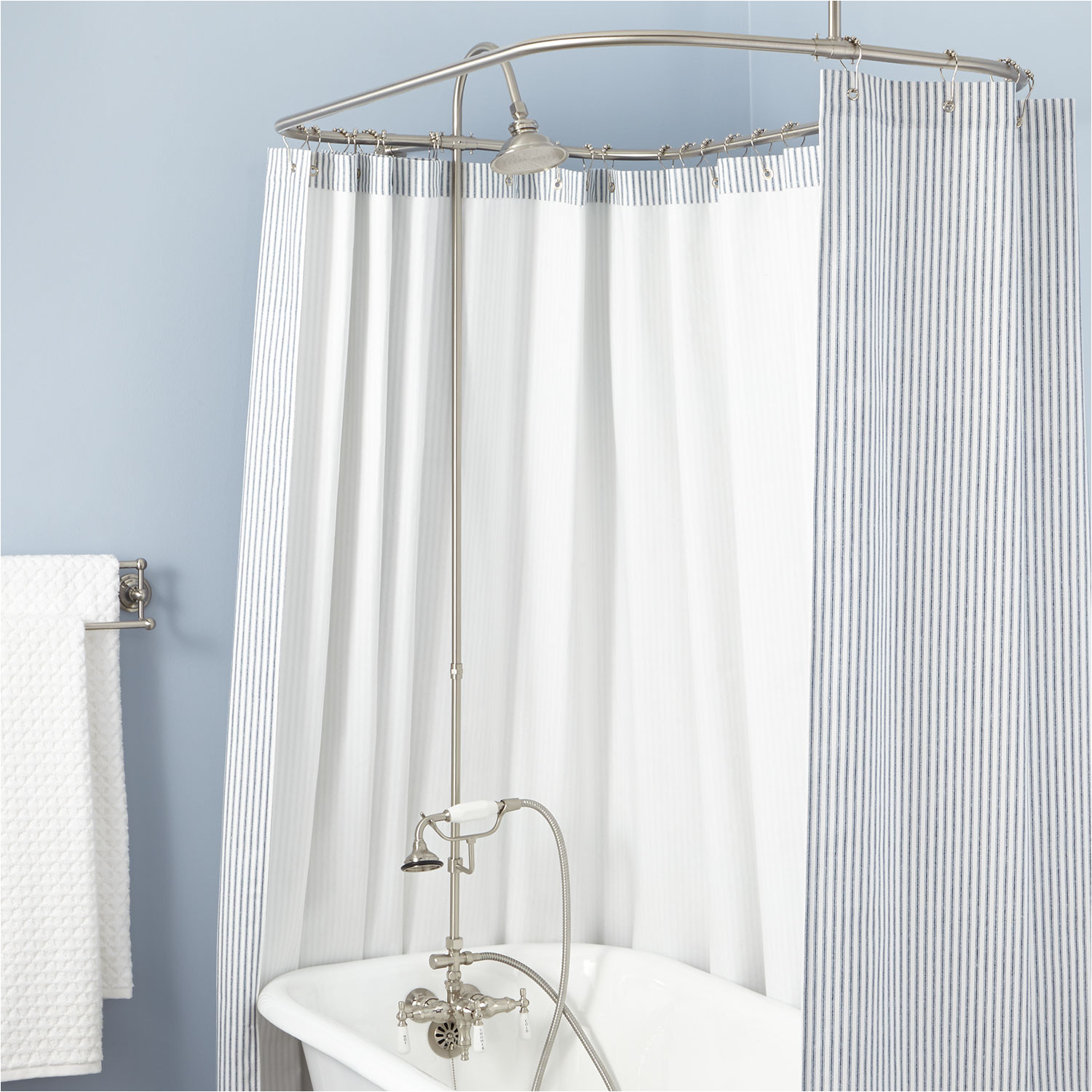 clawfoot tub solid brass shower conversion kit with hand shower