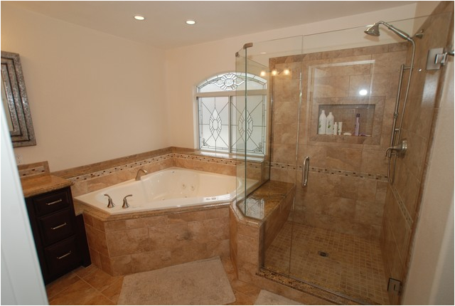 Corner Garden Bathtub Corner Tub & Shower Seat Master Bathroom Reconfiguration