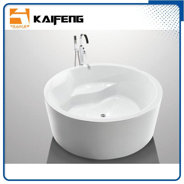 sale white round freestanding bathtub acrylic round soaking tub with center drain